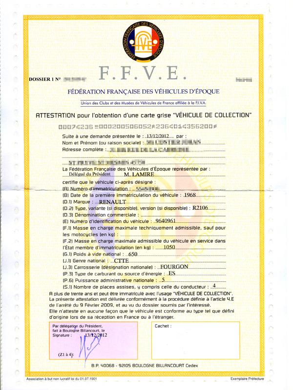 attestation ffve carte grise collection Attestation FFVE pour la 4L F4 Sinpar
