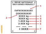 Plaque constructeur rectangle - Renault 4