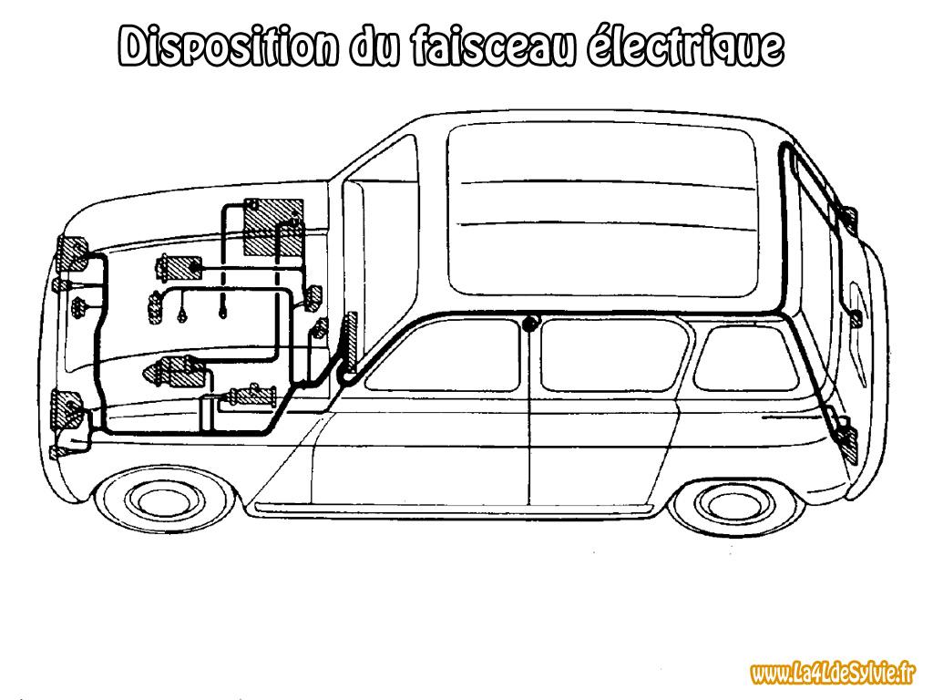 eclairage de plaque pour renault 4 Disposition du faisceau électrique dans une Renault 4 berline